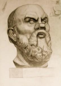 Голова Сократа. Композиционное размещение изображения на плоскости листа. Наметить общий объем, задать профильную линию. Наметить границу лицевой поверхности. Определение деталей головы, пропорций. Перспектива. Свето-теневая моделировка.
