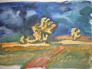 Эскиз пейзажа, копия. Контрастные цвета, как эмоциональная передача состояния природы.
