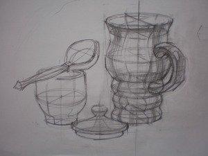 Плоскости сечения. Предметы сложных форм. Линейный рисунок с построением.