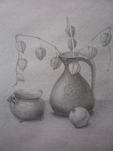 Композиция из предметов сферических форм. Рисунок карандашом с передачей объема.