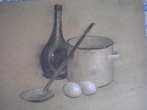 Натюрморт контрастных тонов мягкими материалами. Уголь, пастель, серый картон.