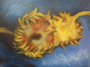 Копия маслом ( картина В.Ван-Гога «Подсолнухи»). Ознакомление с манерой письма автора, его цветовой палитрой.