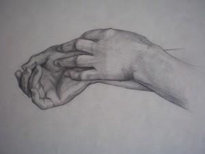 Рисунок рук. Натурная постановка. Анатомическое изучение строения кистей рук.