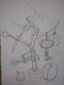 Предметы сложных форм. Различные ракурсы и положения. Линейный рисунок и построение.