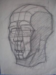 Обрубовка. Построение. Компановка на листе. Профильная линия. Пропорции. Обобщенная конструкция головы. Отдельные плоскости головы. Выявление формы головы тоном.