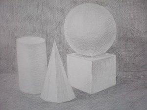 Композиция из геометрических тел. Построение и свето-теневая моделировка. Фон.